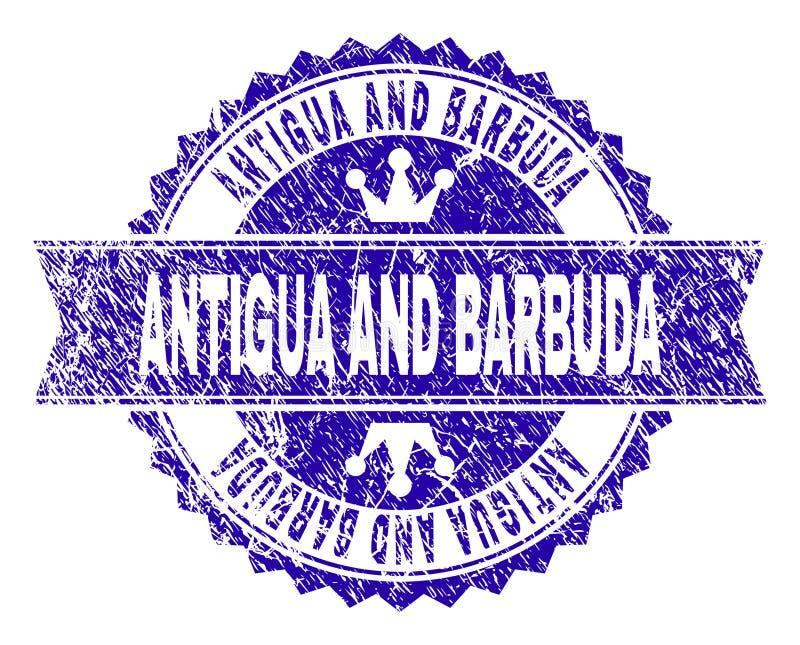 Joint texturisé rayé de timbre de l'ANTIGUA-ET-BARBUDA avec le ruban illustration stock