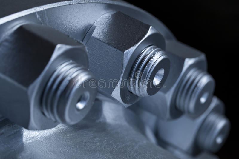 Joint of two flanges by bolts and nuts royalty free stock image