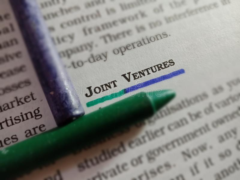 joint ventures words displaying with conceptual thoughts stock image