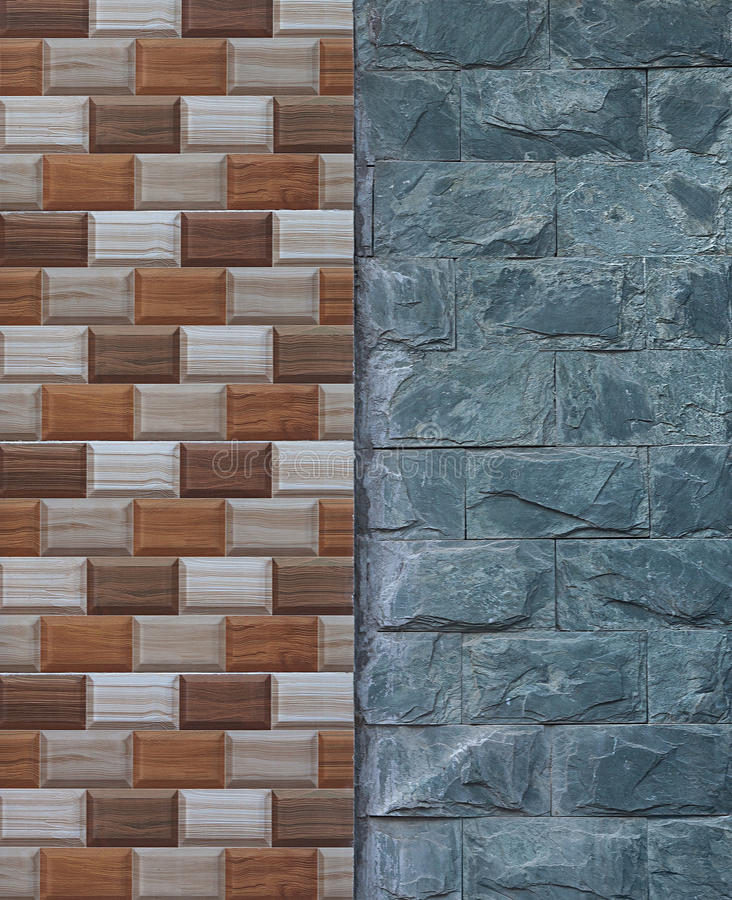 Joint of wall imitation wood painted tiles and natural stone. Textural background stock images