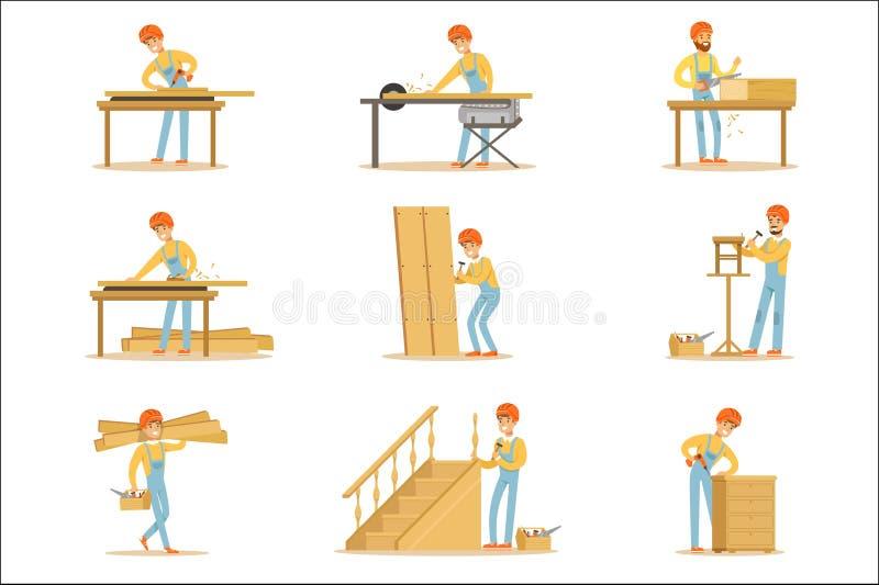 Jointer en bois professionnel au travail ouvrant les meubles en bois et d'autres illustrations de vecteur d'?l?ments de construct illustration libre de droits