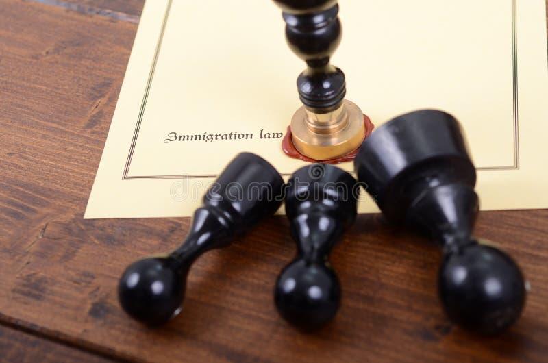 Joints de notaire et loi d'immigration sur le fond en bois photos stock