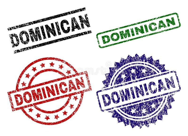 Joints DOMINICAINS texturisés grunges de timbre illustration stock