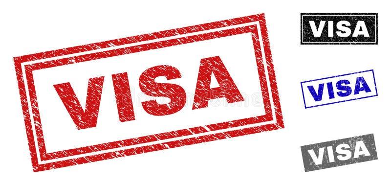Joints texturisés de timbre de rectangle de VISA grunge image libre de droits