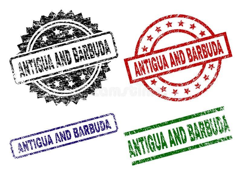 Joints texturisés endommagés de timbre de l'ANTIGUA-ET-BARBUDA illustration stock