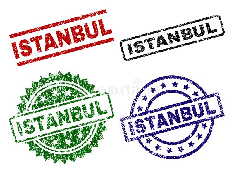 Joints texturisés grunges de timbre d'ISTANBUL illustration stock