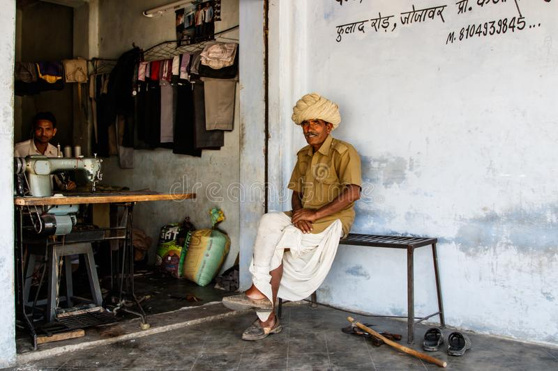 Old man in India stock image