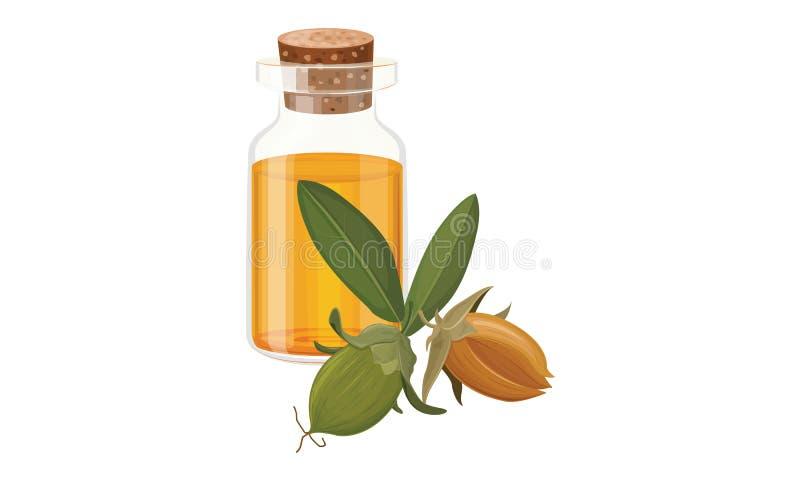 Jojoba olej w Szklanej butelce royalty ilustracja
