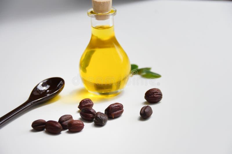 Jojoba olie op witte achtergrond stock afbeeldingen
