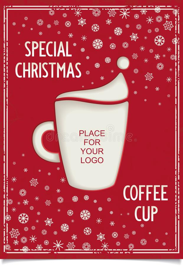 Free Joke Christmas Poster With Stylized Coffee Cup Stock Photos - 35493263
