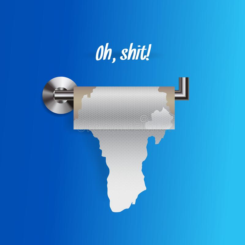 Joke concept of nearly empty torn toilet paper on a holder, realistic toilet paper vector illustration royalty free illustration