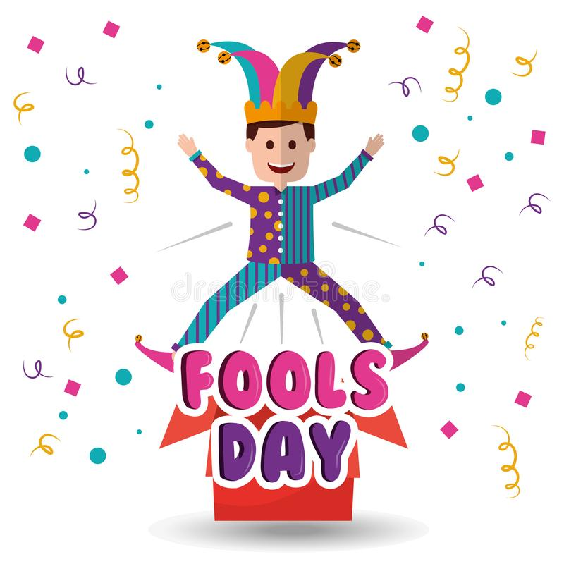 Joker het springen hefboom in de de dwazendag van de doosverrassing royalty-vrije illustratie