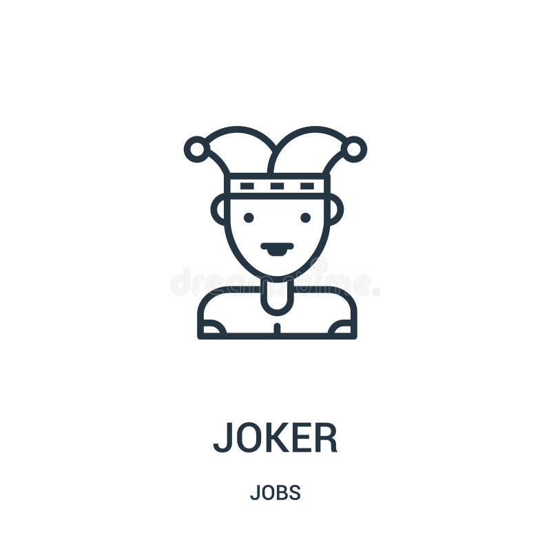 joker icon vector from jobs collection. Thin line joker outline icon vector illustration. Linear symbol vector illustration
