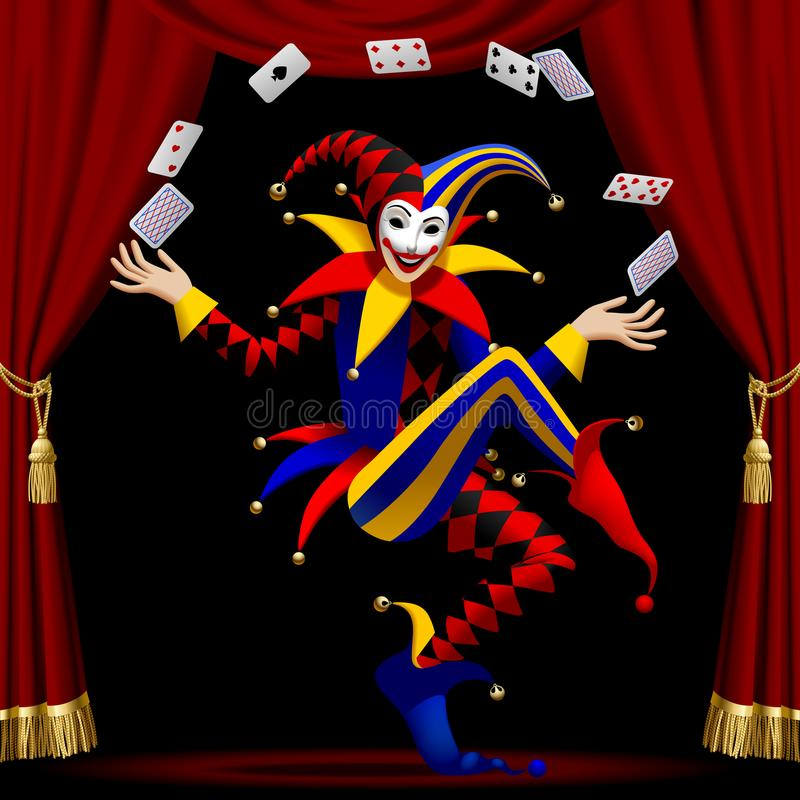 Joker with playing cards farmed by red curtain stock illustration