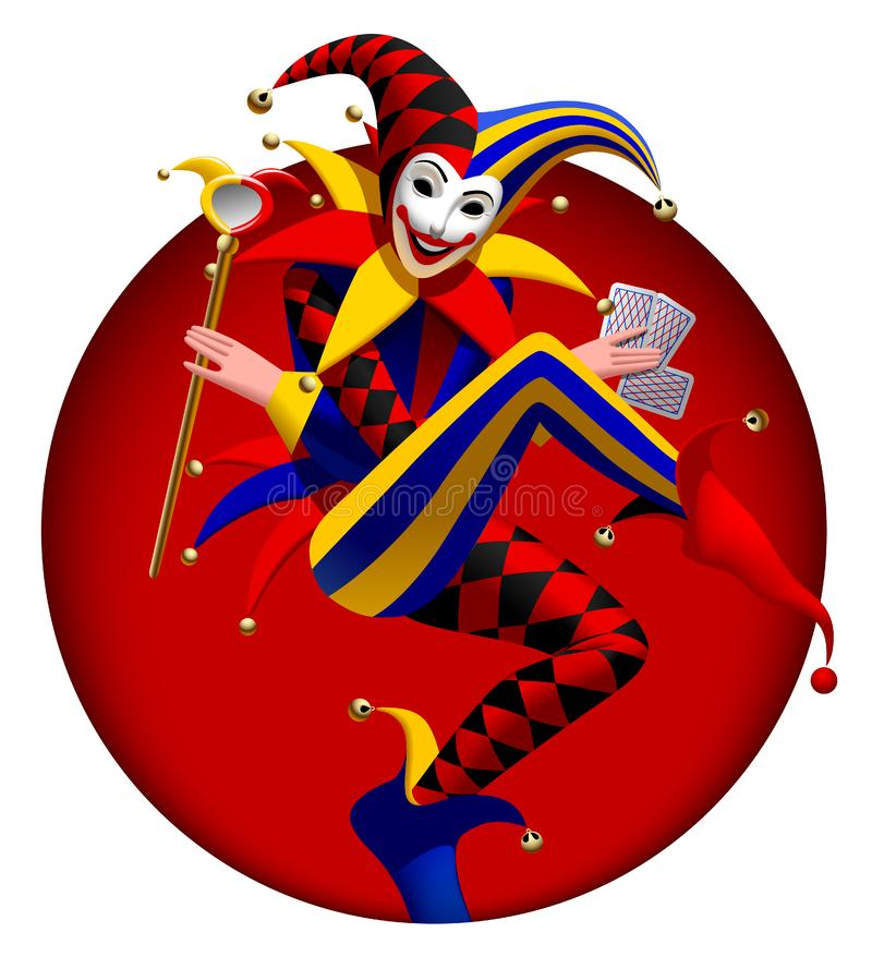 Joker with playing cards and mirror in dark red round frame royalty free illustration