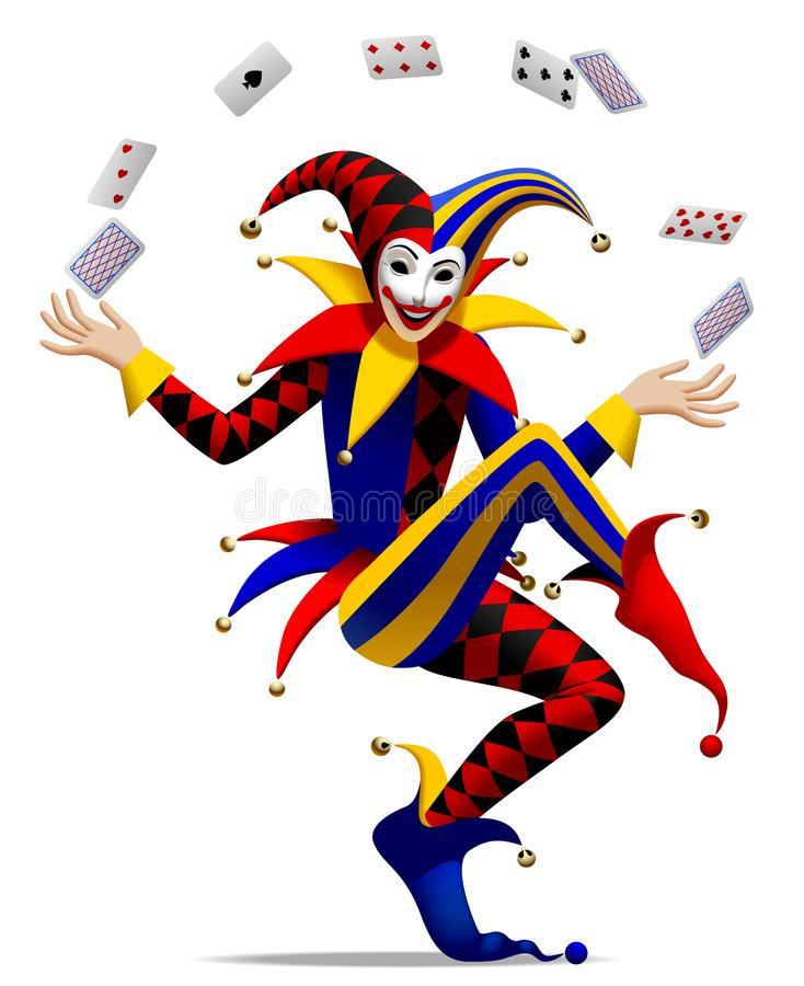 Joker with playing cards vector illustration