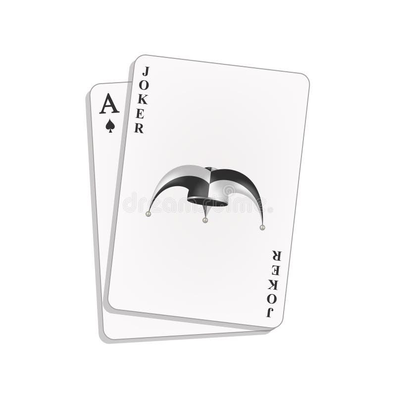Joker and spades ace stock illustration