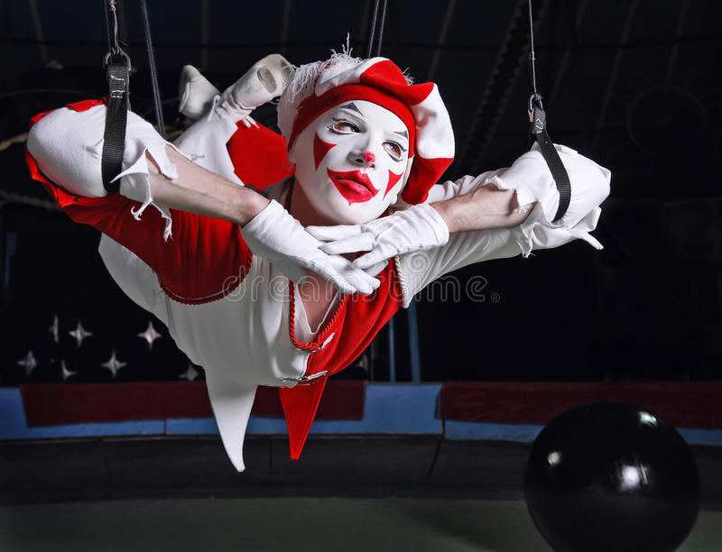 Joker. In theater in red and white royalty free stock photos