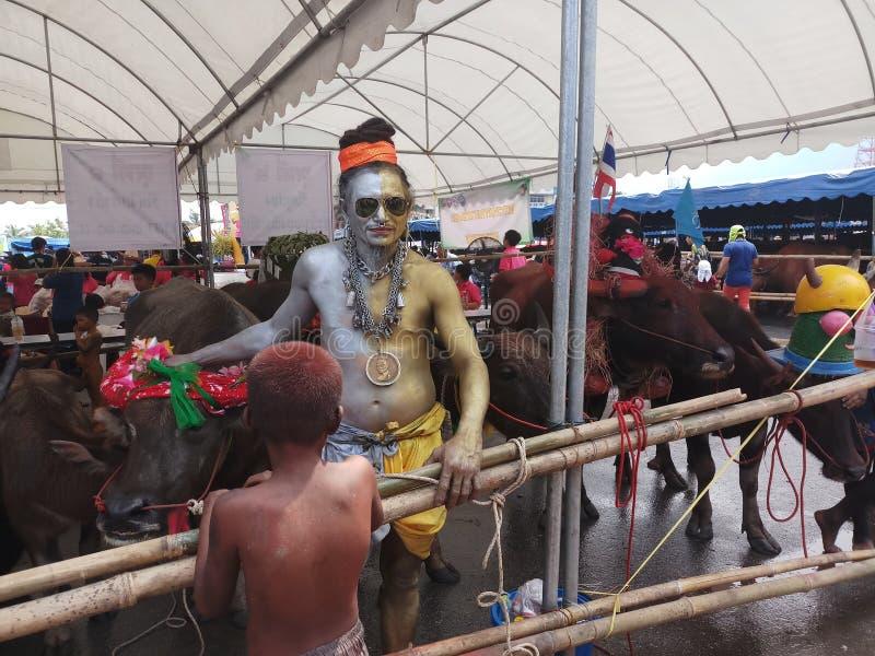 Joker w Chonburi Bawoliej działającej tradycji zdjęcie stock