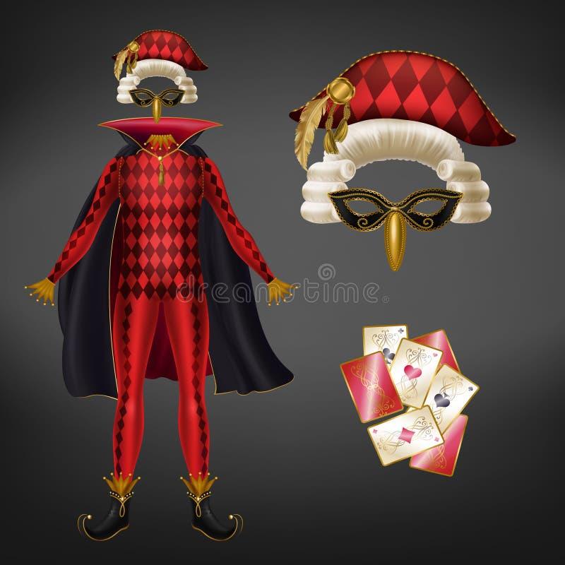 Jokeru kostium i karta do gry realistyczny wektor royalty ilustracja