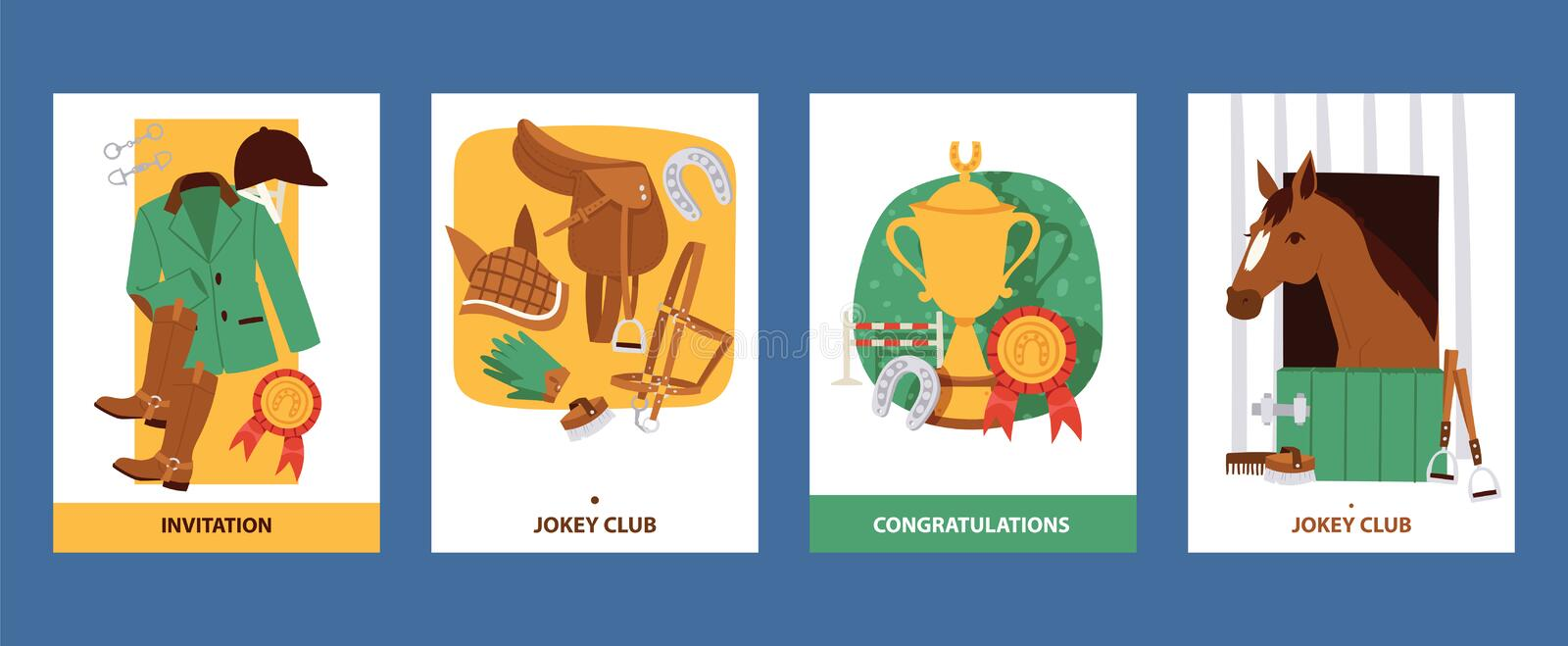 Jokey cards with clothing for horsemen, boots, trousers, helmet, gloves, equipment for horse riding. Invitation and. Jokey cards with clothing for horsemen royalty free illustration