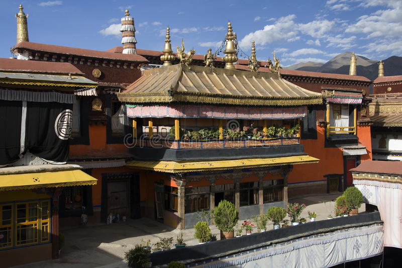 Jokhang Monastery - Lhasa - Tibet. The Jokhang Temple and Monastery in the city of Lhasa in Tibet. For most Tibetans it is the most sacred and important temple royalty free stock image
