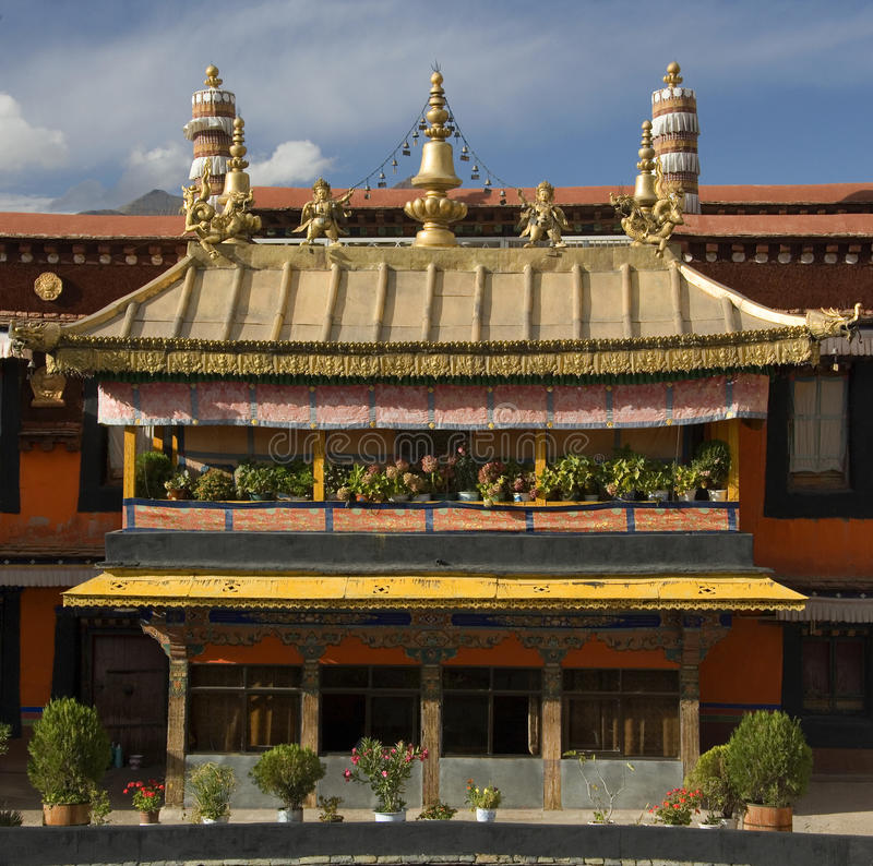 Jokhang Monastery - Lhasa - Tibet. The Jokhang Temple and Monastery in the city of Lhasa in Tibet. For most Tibetans it is the most sacred and important temple stock photos