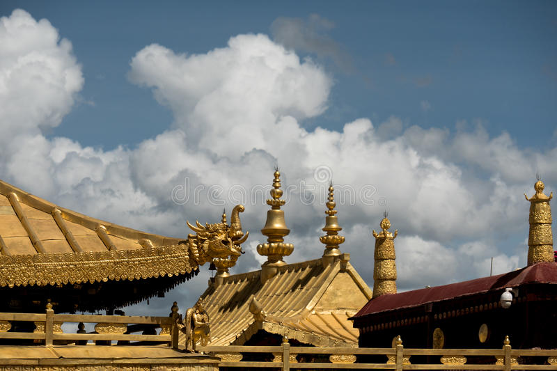 Jokhang Temple Dracon Roof Lhasa Tibet. Jokhang Temple ('House of the Lord') in Lhasa is the holiest site in Tibetan Buddhism, attracting crowds of prostrating royalty free stock photography