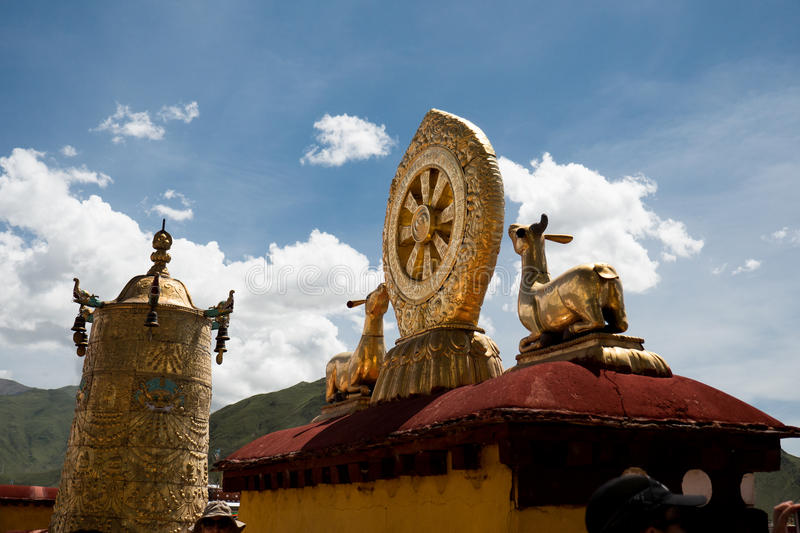 Jokhang Temple Fragment Lhasa Tibet. Jokhang Temple ('House of the Lord') in Lhasa is the holiest site in Tibetan Buddhism, attracting crowds of prostrating stock photography