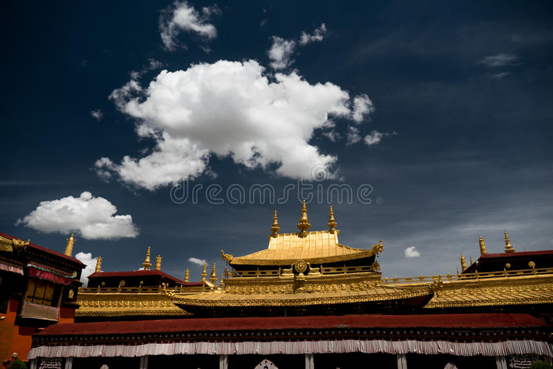 Jokhang Temple Fragment Lhasa Tibet. Jokhang Temple ('House of the Lord') in Lhasa is the holiest site in Tibetan Buddhism, attracting crowds of prostrating royalty free stock photos