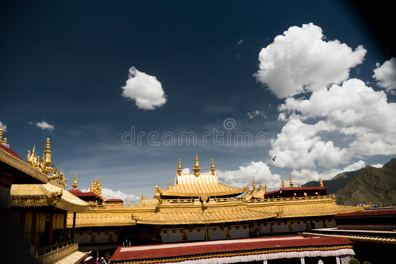 Jokhang Temple Lhasa Tibet. Jokhang Temple ('House of the Lord') in Lhasa is the holiest site in Tibetan Buddhism, attracting crowds of prostrating Tibetan royalty free stock photo