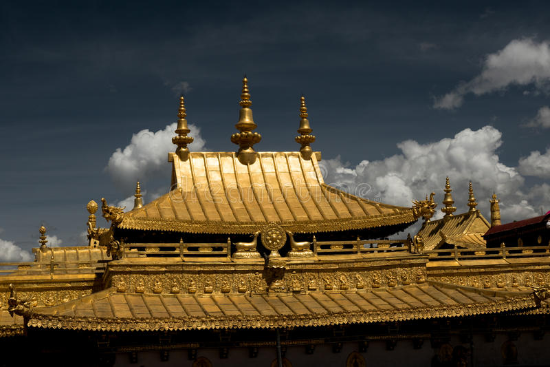 Jokhang Temple Roof Lhasa Tibet. Jokhang Temple ('House of the Lord') in Lhasa is the holiest site in Tibetan Buddhism, attracting crowds of prostrating Tibetan royalty free stock image