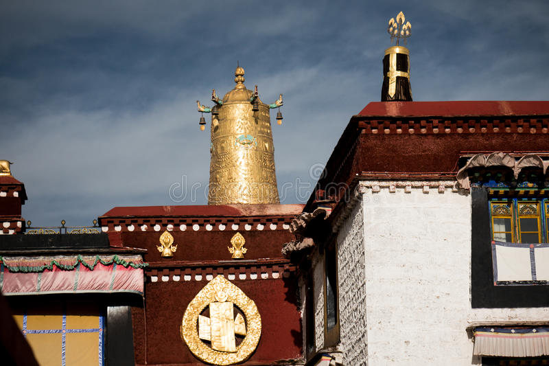 Jokhang Temple roof Lhasa Tibet. Jokhang Temple ('House of the Lord') in Lhasa is the holiest site in Tibetan Buddhism, attracting crowds of prostrating Tibetan stock photos