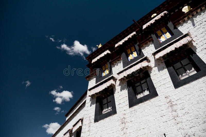 Jokhang Temple wall Lhasa Tibet. Jokhang Temple ('House of the Lord') in Lhasa is the holiest site in Tibetan Buddhism, attracting crowds of prostrating Tibetan stock images