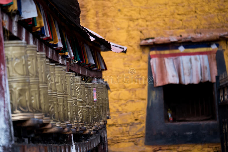Jokhang Temple wall Lhasa Tibet. Jokhang Temple ('House of the Lord') in Lhasa is the holiest site in Tibetan Buddhism, attracting crowds of prostrating Tibetan royalty free stock image