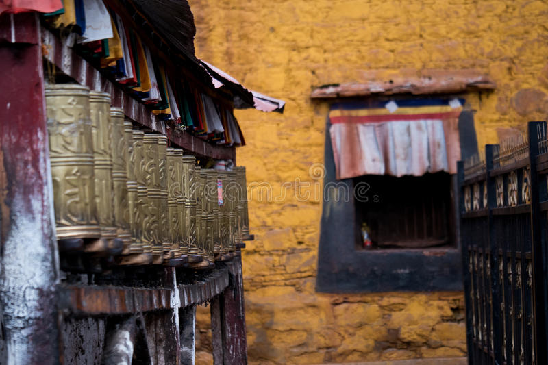 Jokhang Temple wall Lhasa Tibet. Jokhang Temple ('House of the Lord') in Lhasa is the holiest site in Tibetan Buddhism, attracting crowds of prostrating Tibetan royalty free stock photography