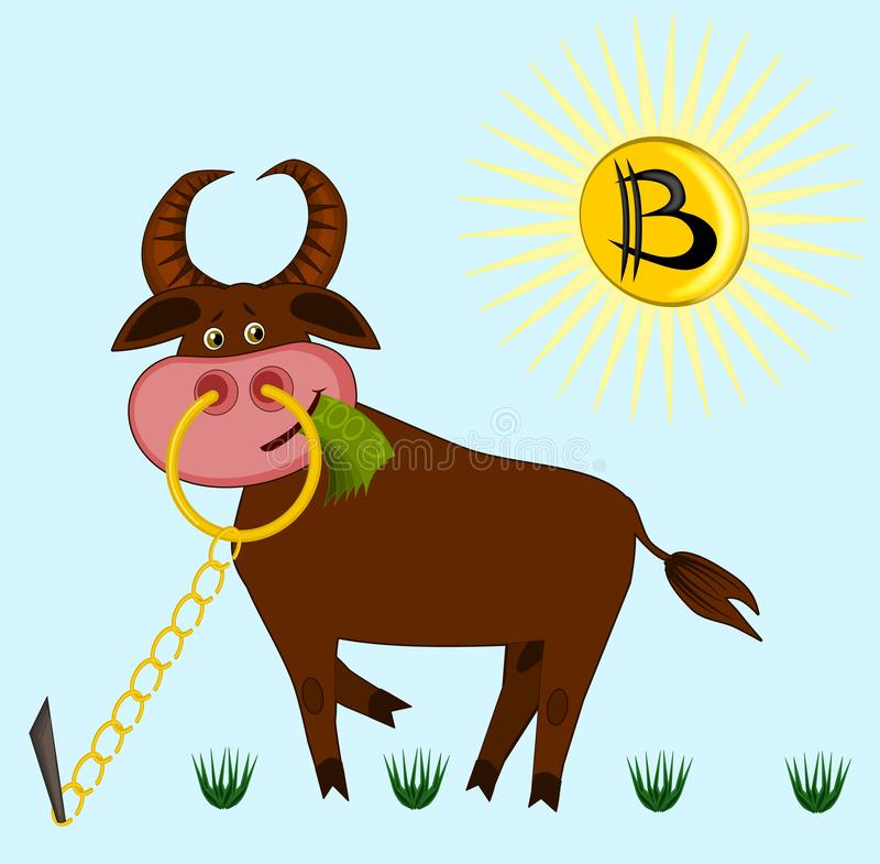 A joking picture on the theme of cryptocurrency - a bull on the lawn is chewing banknotes, instead of the sun in the sky he has a. Bitcoin. Illustration, vector royalty free illustration