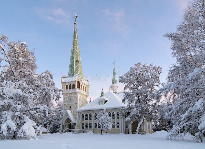 Jokkmokk Nowy kościół w zimie, Szwecja obraz stock