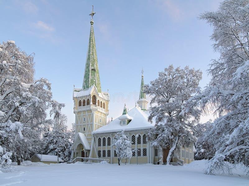 Jokkmokk Nowy kościół w zimie, Szwecja zdjęcie stock