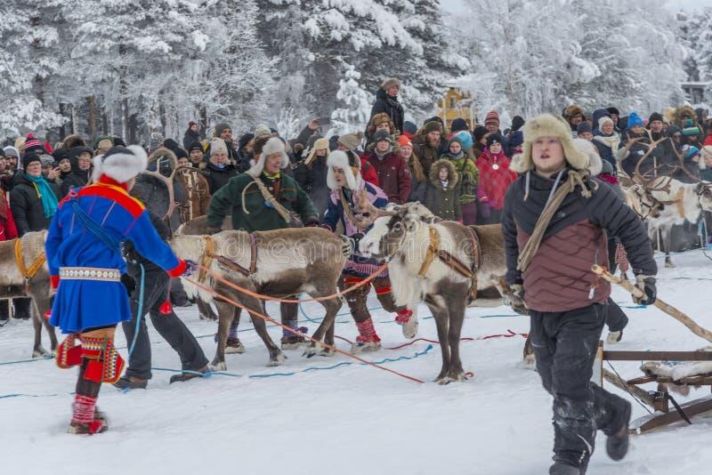Jokkmokk Winter Market 2019, a Sami event, Norrbotten, Sweden,the race stock image