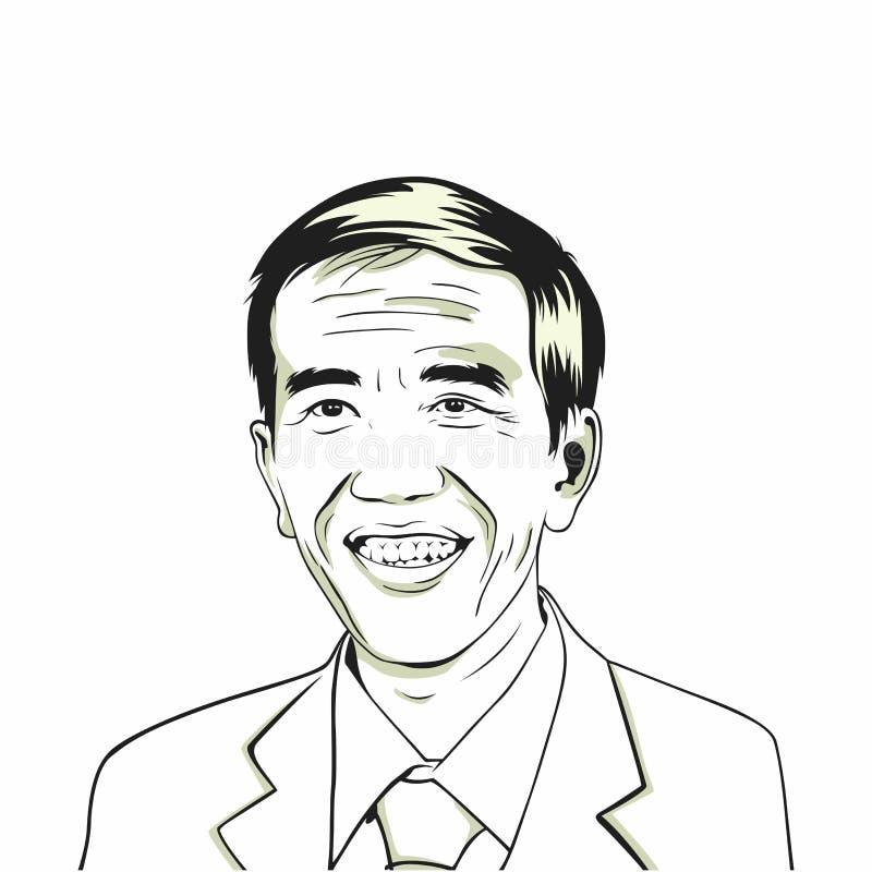 Joko Widodo Jokowi Indonesisk president Linje Art Vector Drawing Illustration stock illustrationer