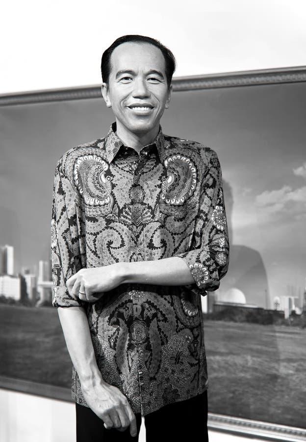 Joko Widodo 7th president av den indonesia vaxstatyn på madamtussauds i Hong Kong arkivfoton