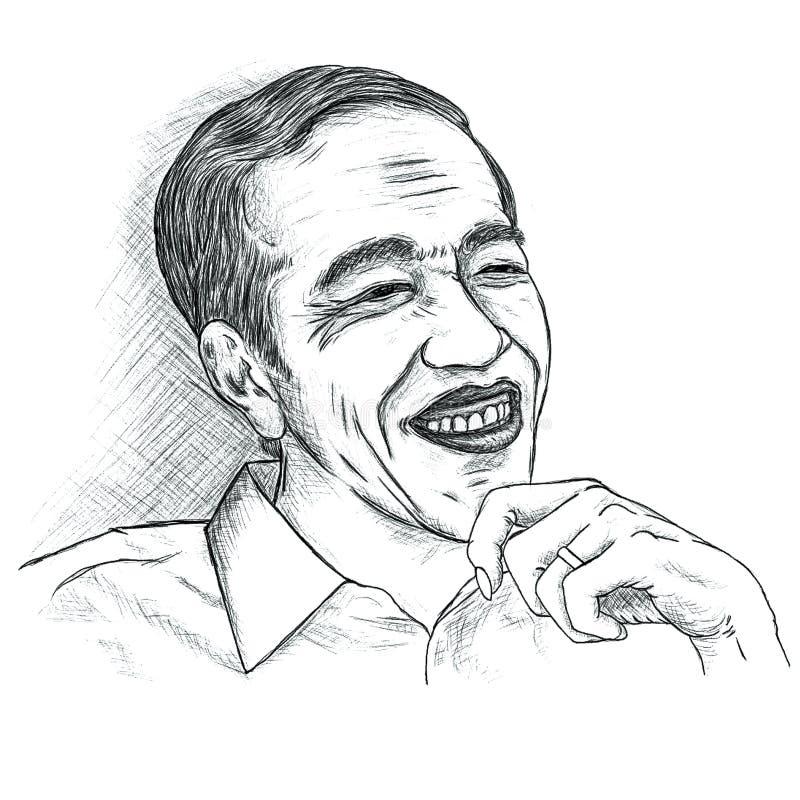 Jokowi Joko Widodo Portrait royaltyfri illustrationer