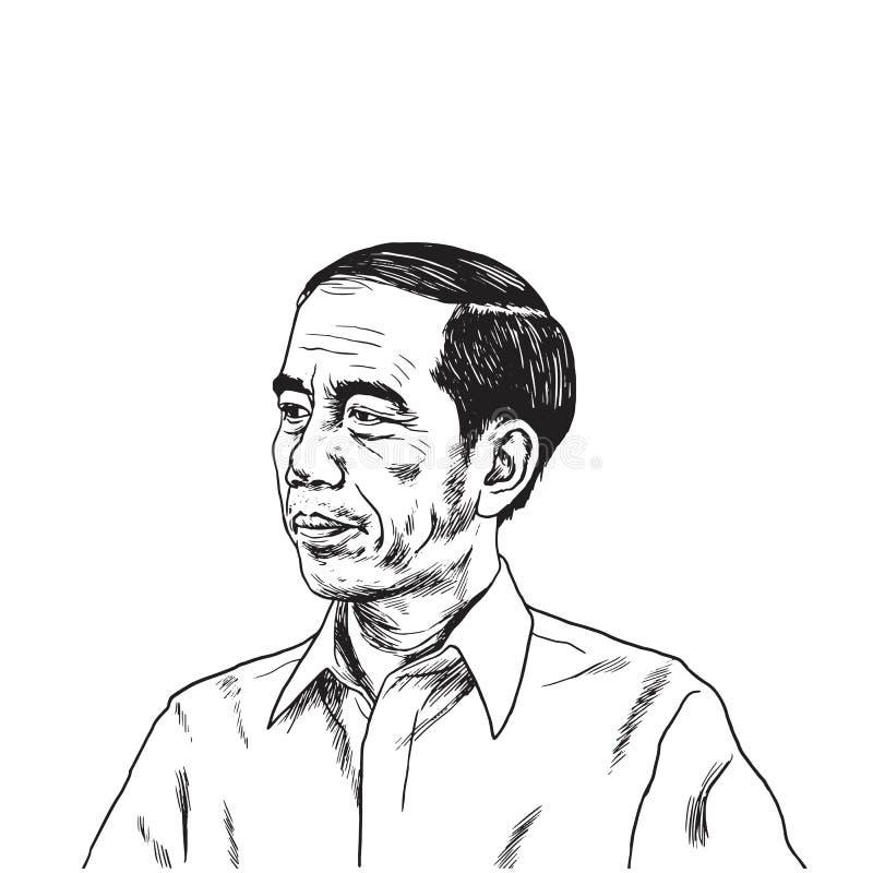 Jokowi Joko Widodo Portrait Drawing Maj 25, 2017 stock illustrationer