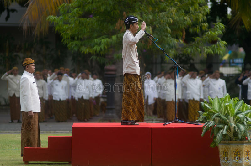 JOKOWI'S PROTECTIONISM. Indonesia's President Joko Widodo, or Jokowi, at his hometown in Solo, Java, Indonesia. Widodo's government is reacting to a royalty free stock photography