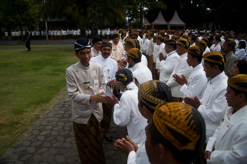 JOKOWI'S PROTECTIONISM. Indonesia's President Joko Widodo, or Jokowi, at his hometown in Solo, Java, Indonesia. Widodo's government is reacting to a royalty free stock photos