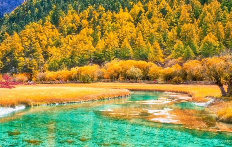 Jokul和湖在岛城亚丁,四川,瓷 免版税库存照片