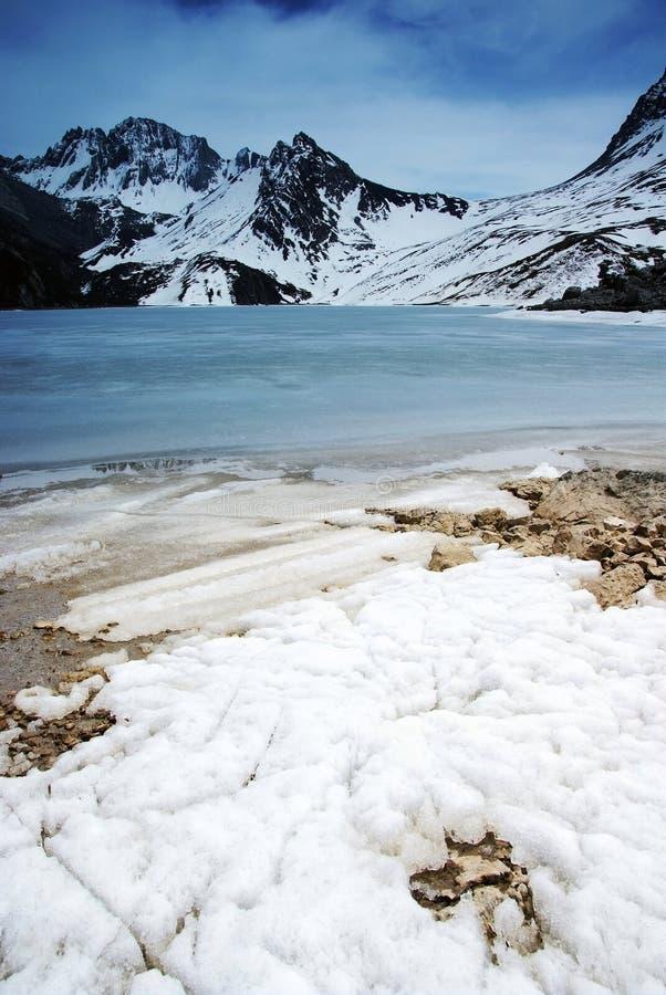Jokul with frozen lake stock image