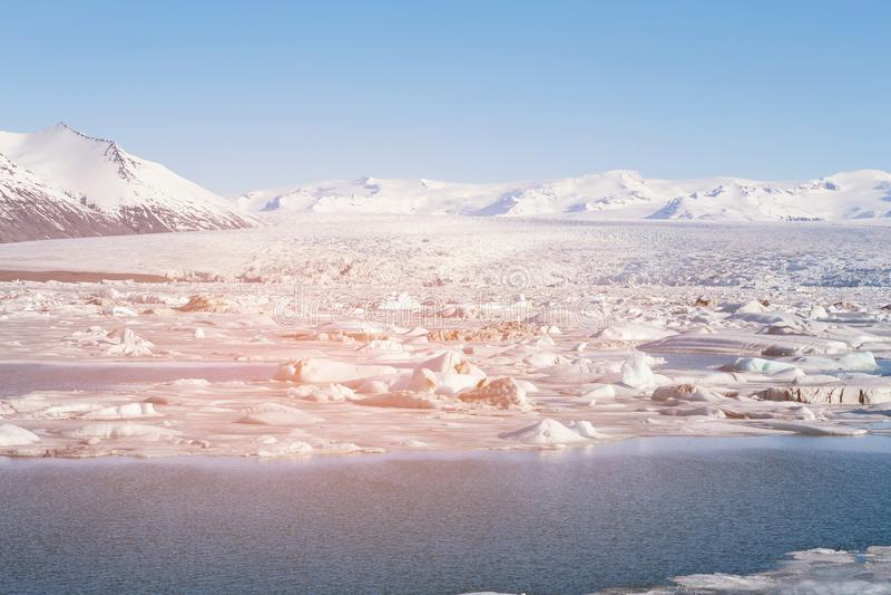 Jokulsarlon冰冰川和盐水湖冰岛 免版税库存图片