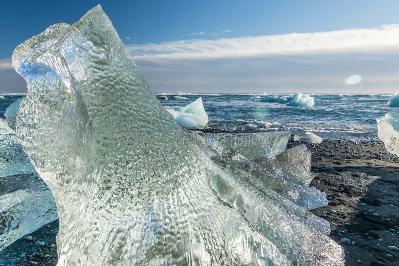 Jokulsarlon冰河海滩,冰岛 图库摄影